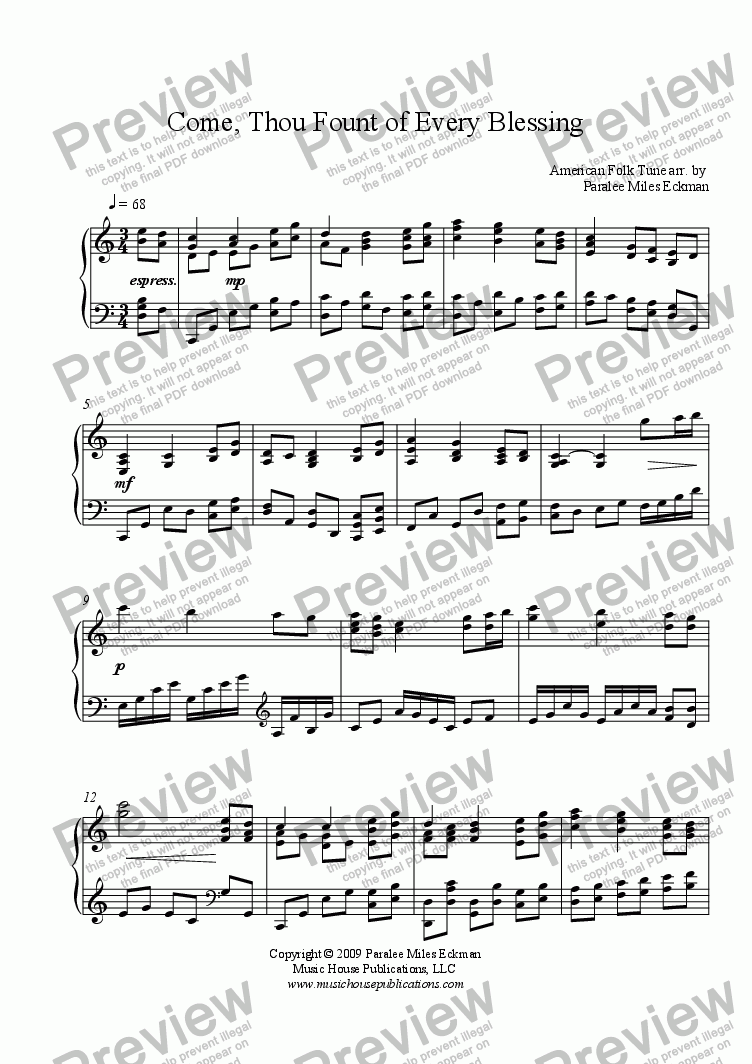 page one of Come Thou Fount of Every Blessing (Piano Solo - Eckman)ASALTTEXT