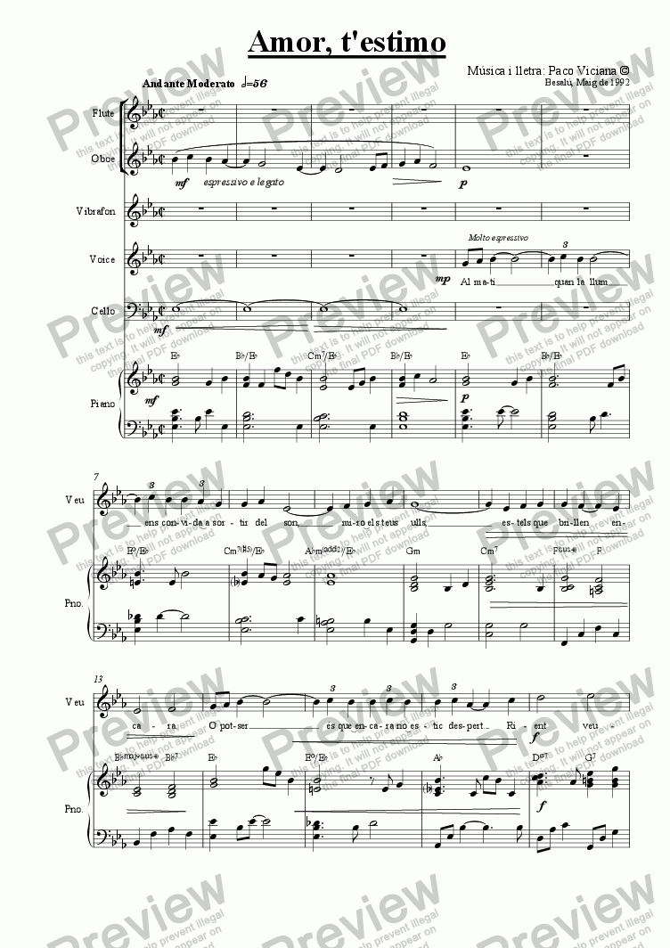 page one of 041-Amor t'estimo (catalan)-(Arrangement 2)