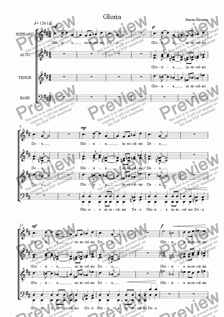 page one of MASS for choir a cappella - 2nd movement - Gloria