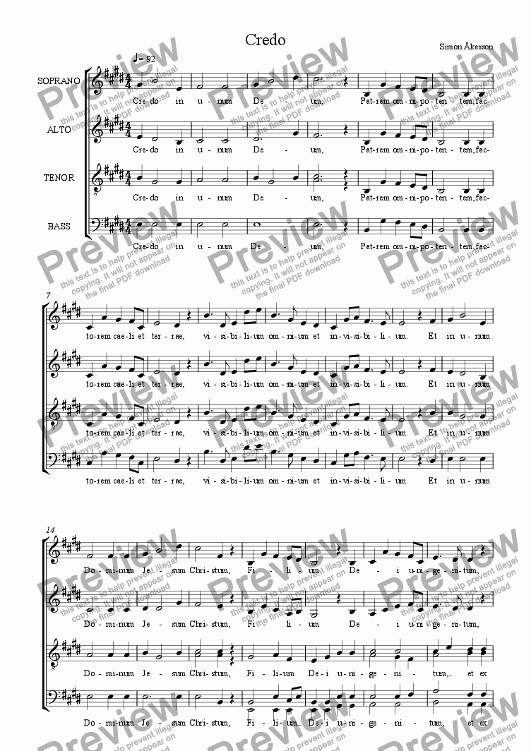 page one of MASS for choir a cappella - 3rd movement - CredoASALTTEXT