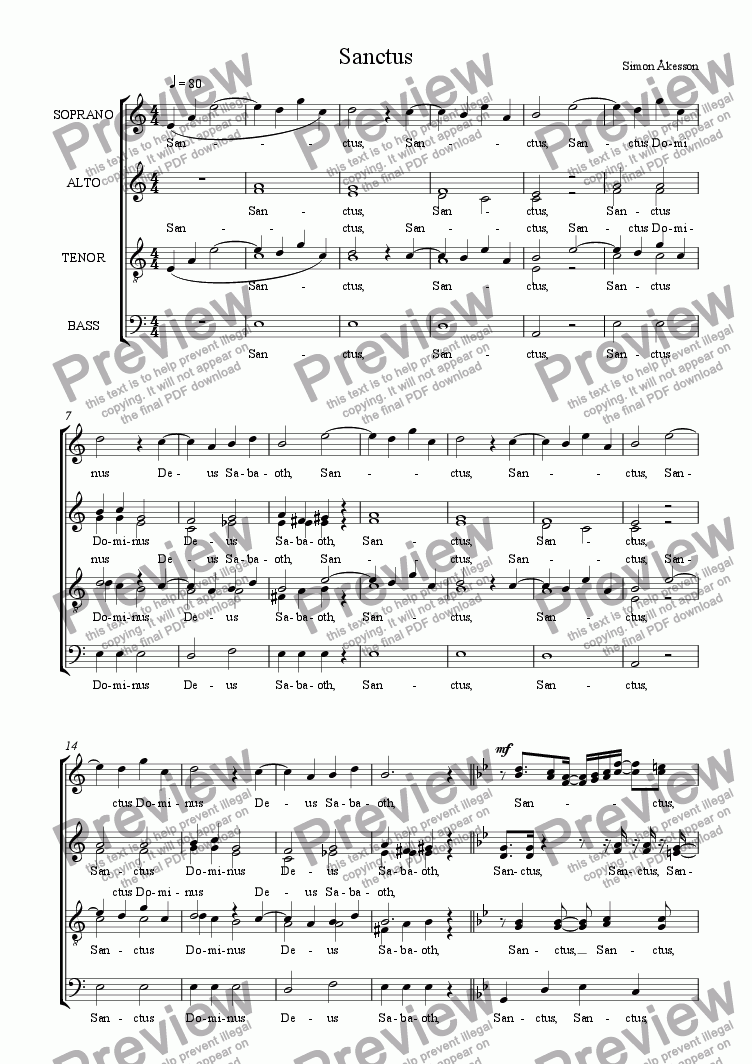 page one of MASS for choir a cappella - 4th movement - SanctusASALTTEXT
