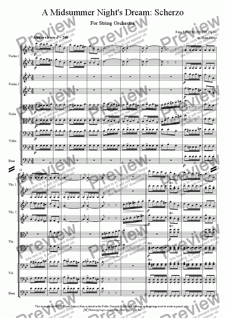 A Midsummer Night's Dream Op 61 - Scherzo for String orchestra by Felix  Mendelssohn - Sheet Music PDF file to download