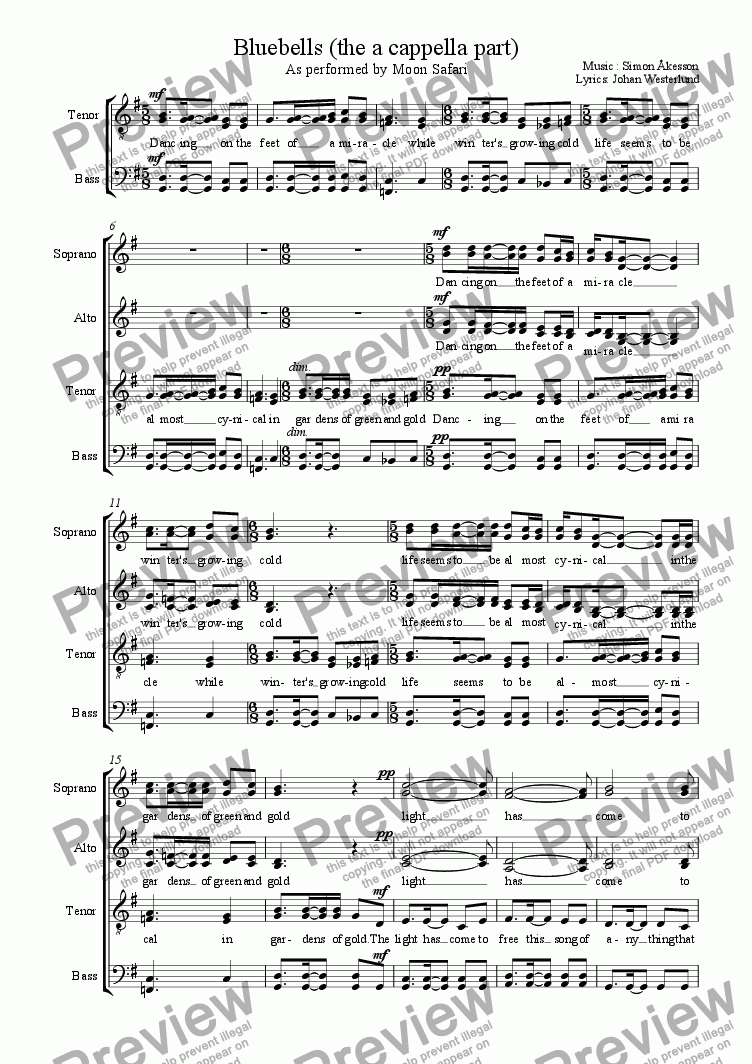 page one of Bluebells (the a cappella part)