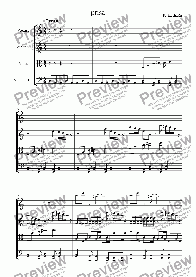 page one of prisa (string quartet, 3 movement)