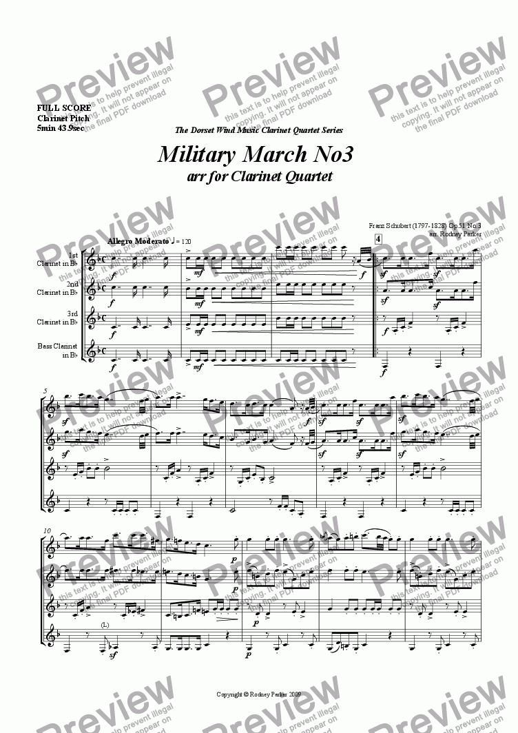 page one of Military March No.3 arr. for Clarinet QuartetASALTTEXT