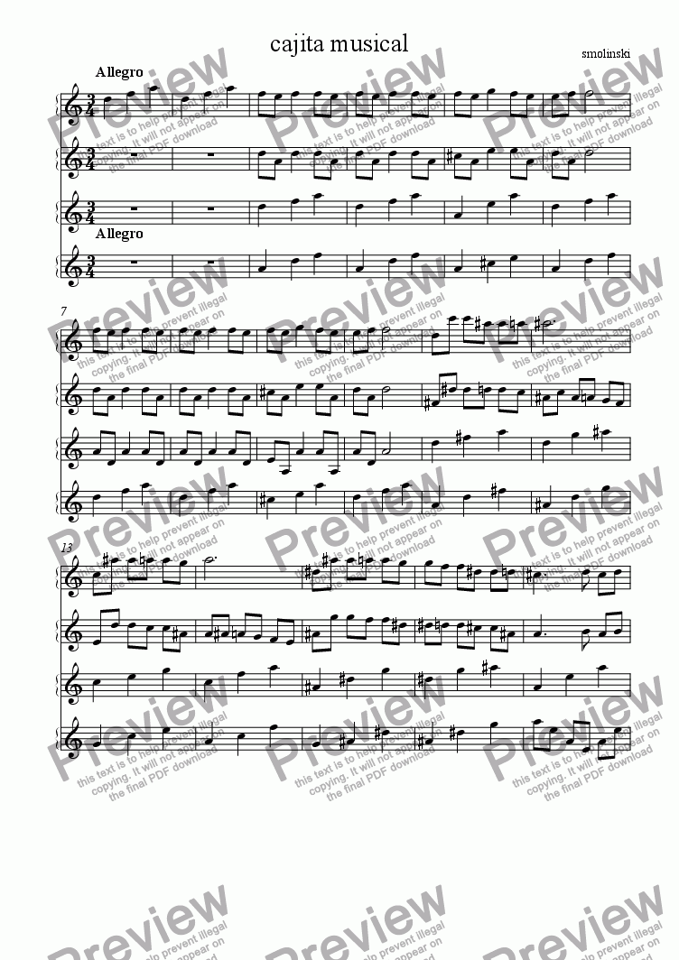 page one of cajita musical (little musical box)