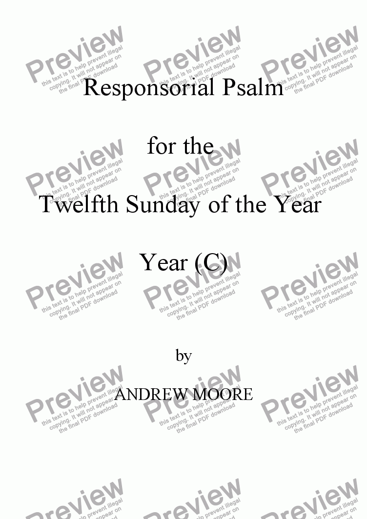 page one of Twelfth Sunday of the Year (C)