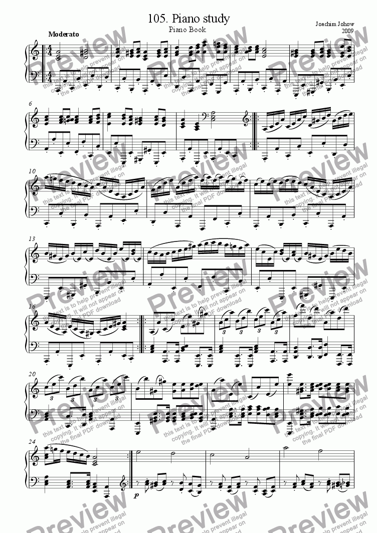 page one of Piano Book 105 (Piano Study)