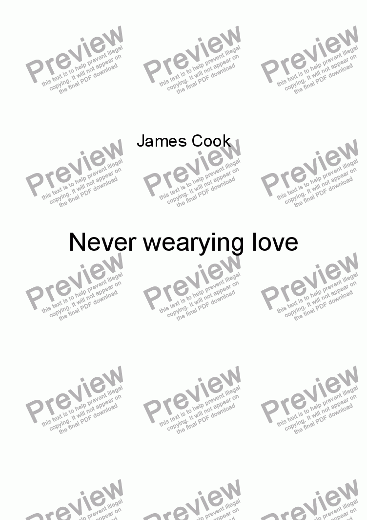 page one of Never wearying love