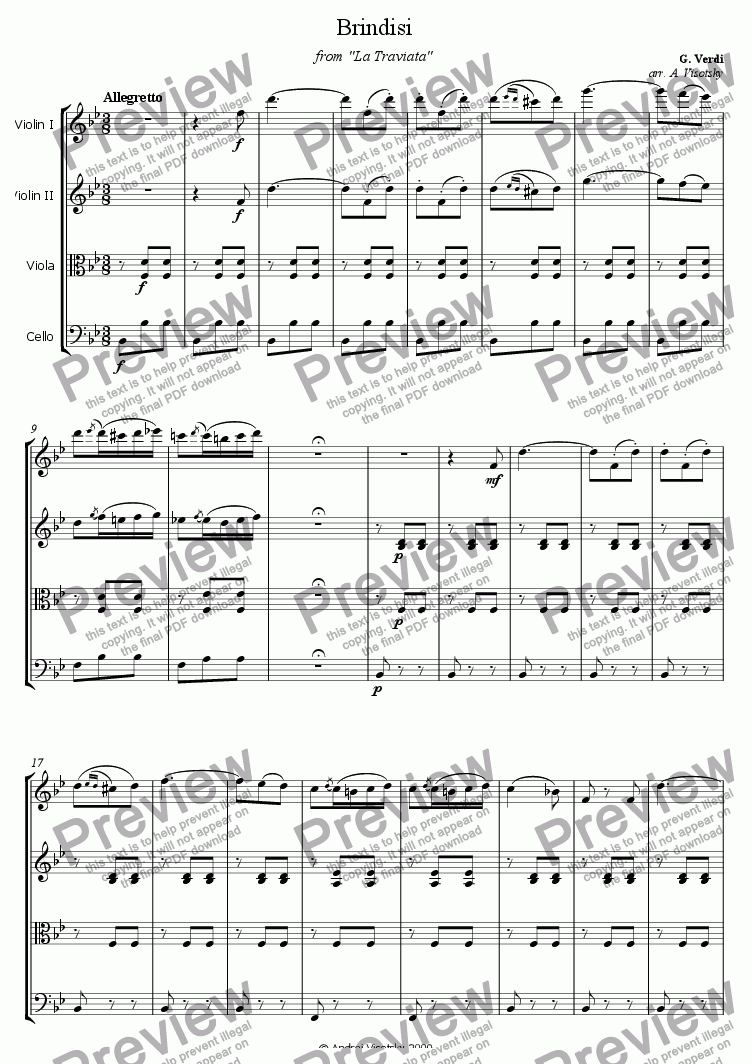 "page one of Brindisi from ""La Traviata"""