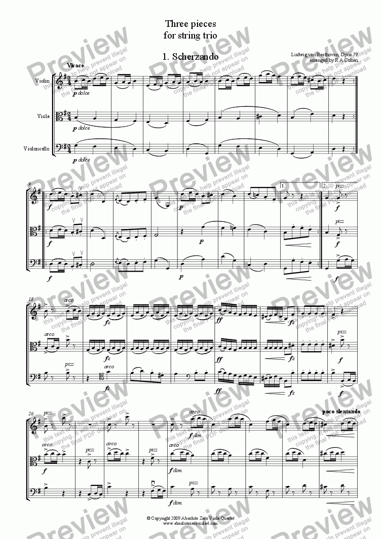 page one of Beethoven - THREE PIECES - for string trio
