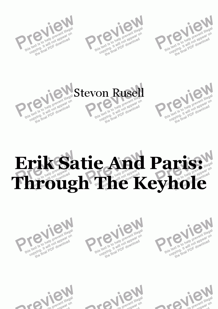 page one of ERIK SATIE AND PARIS: Through The Keyhole