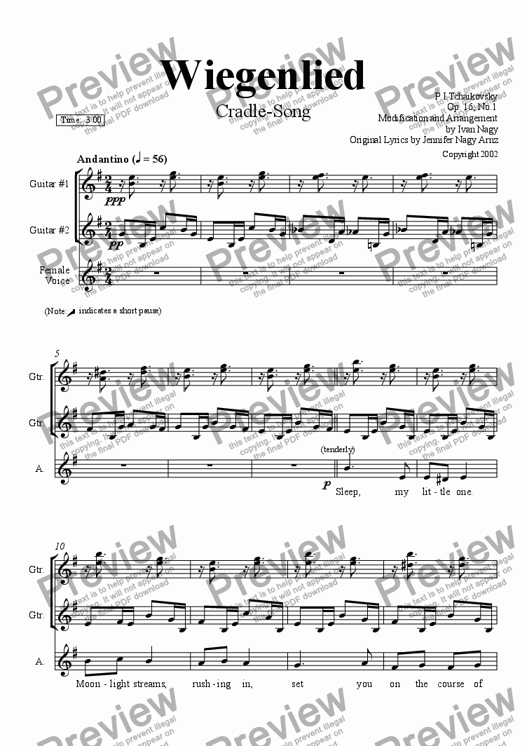 page one of WIEGENLIED (Lullaby/Cradle Song) arr. for 2 guitars and Voice