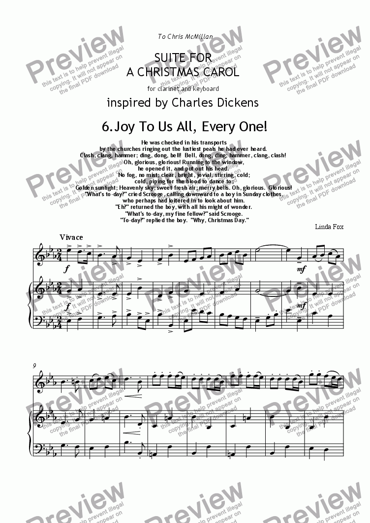 page one of Suite for A Christmas Carol: 6. Joy To Us All, Every One