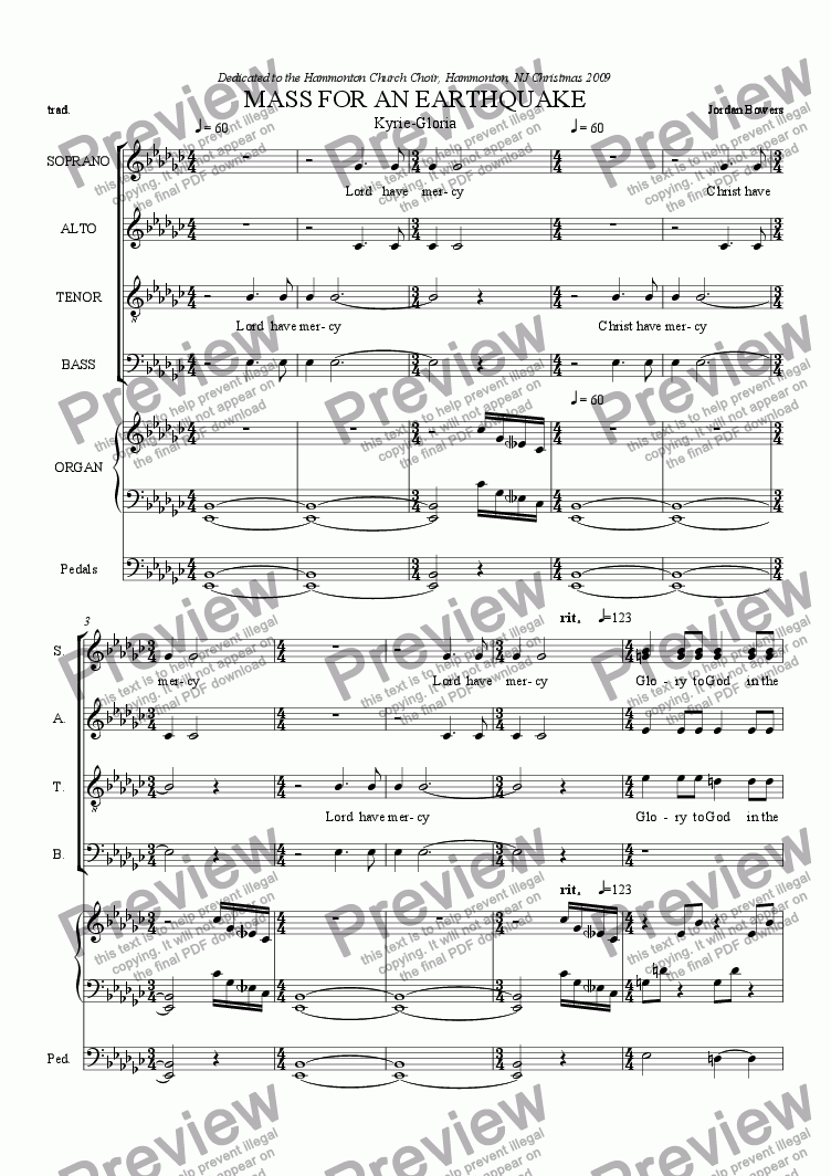 page one of Mass For An Earthquake Kyrie-Gloria
