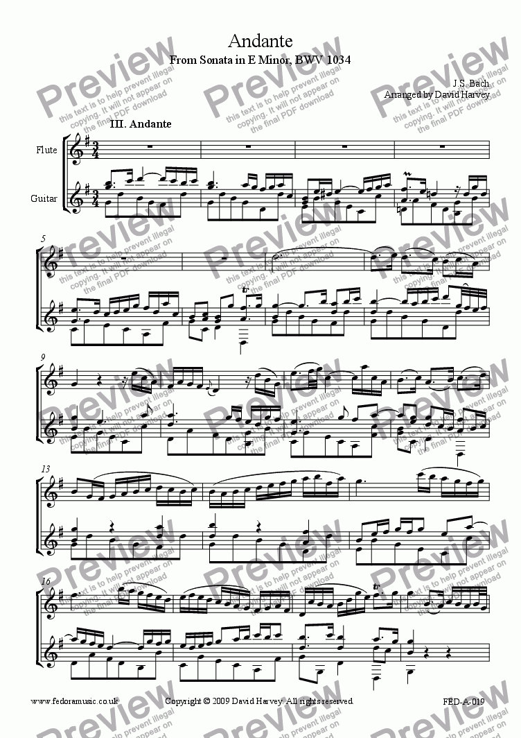 page one of Andante from Sonata in E Minor, BWV1034 (Flute and Guitar)