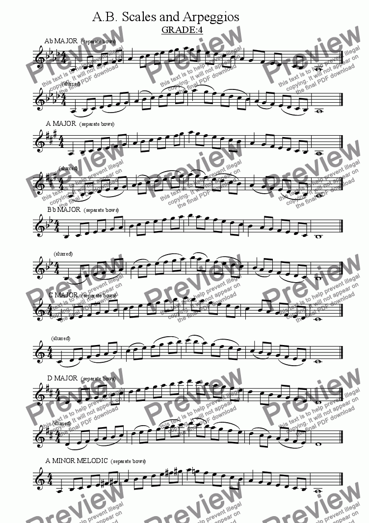 page one of a.b. scales and arpeggios grade 4