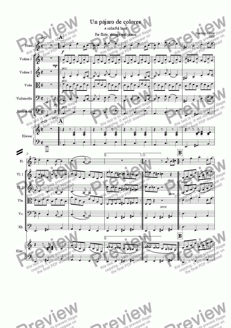 page one of Un pajaro de colores (Fl/strings and piano)ASALTTEXT