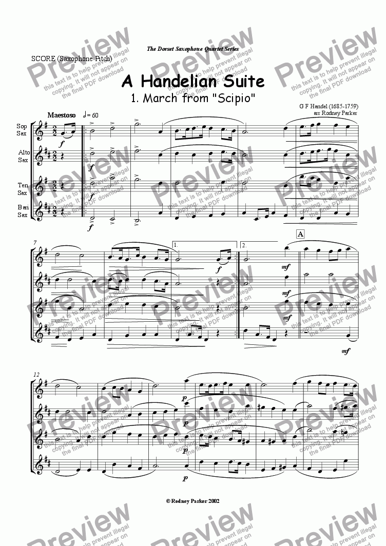 page one of A Handelian Suite for SaxophonesASALTTEXT