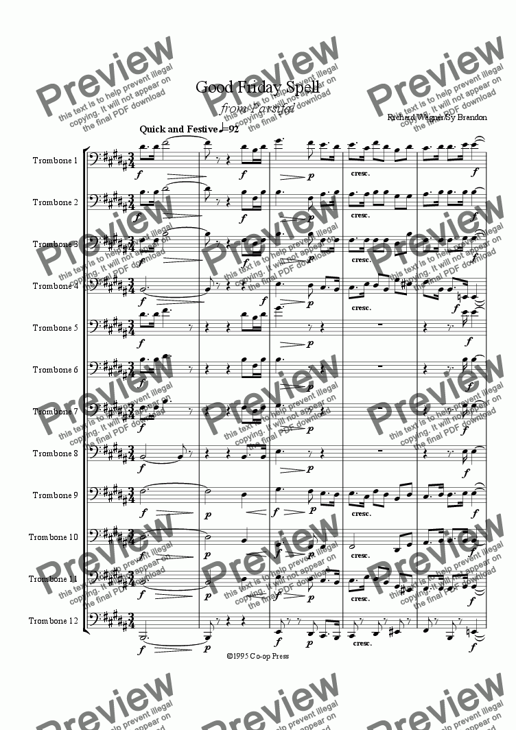page one of Good Friday Spell from Parsifal for 12 Trombones