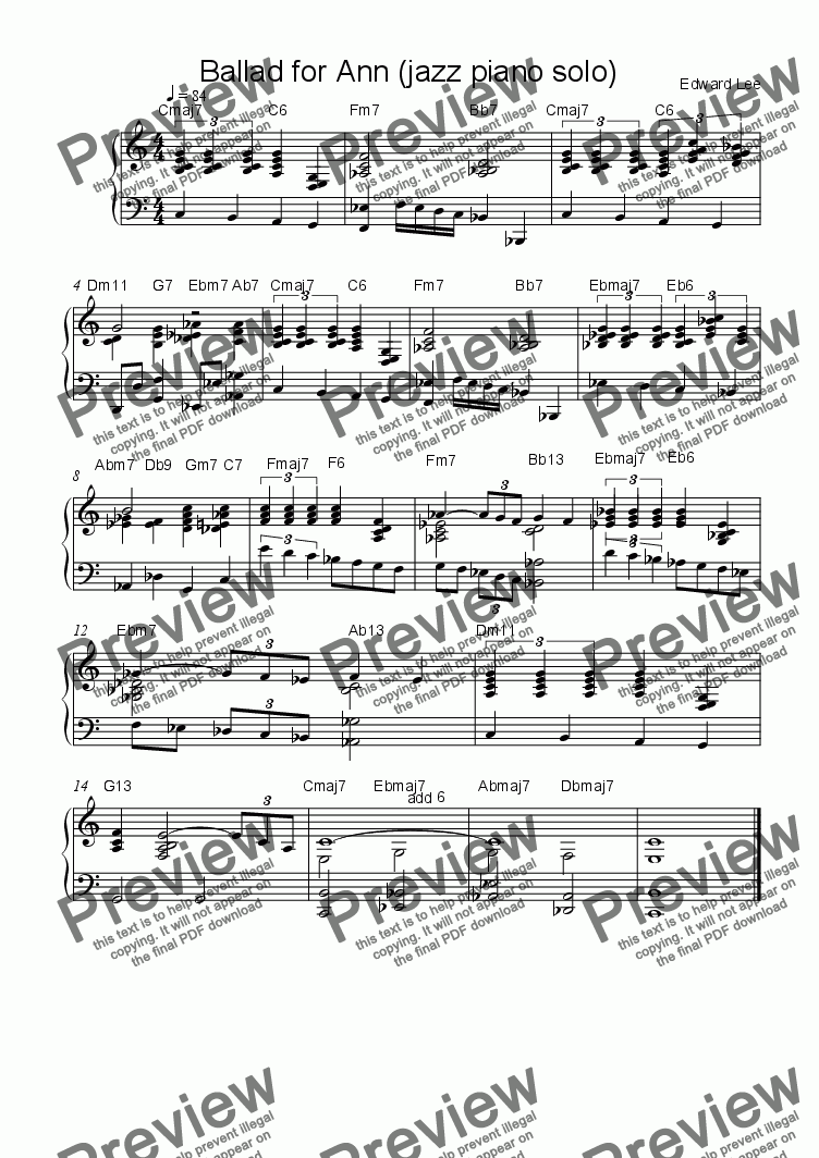 Ballad for Ann (jazz piano solo) for Solo instrument (Piano) by Edward Lee  - Sheet Music PDF file to download
