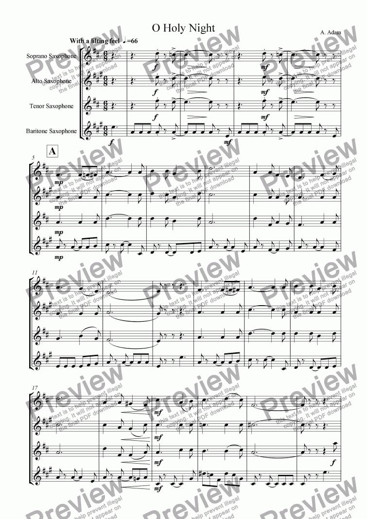 O Holy Night For Saxophone Quartet Satb For Saxophone Quartet By Adolphe Adam Sheet Music Pdf File To Download
