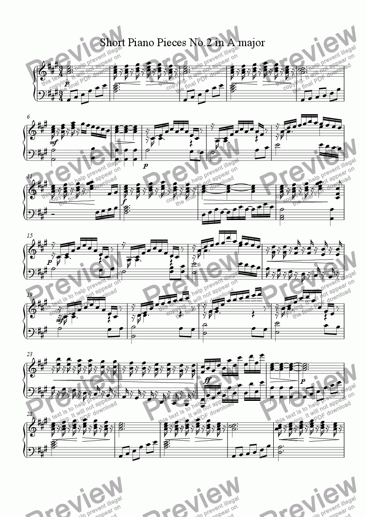 page one of Short Piano Pieces No.2 in A majorASALTTEXT