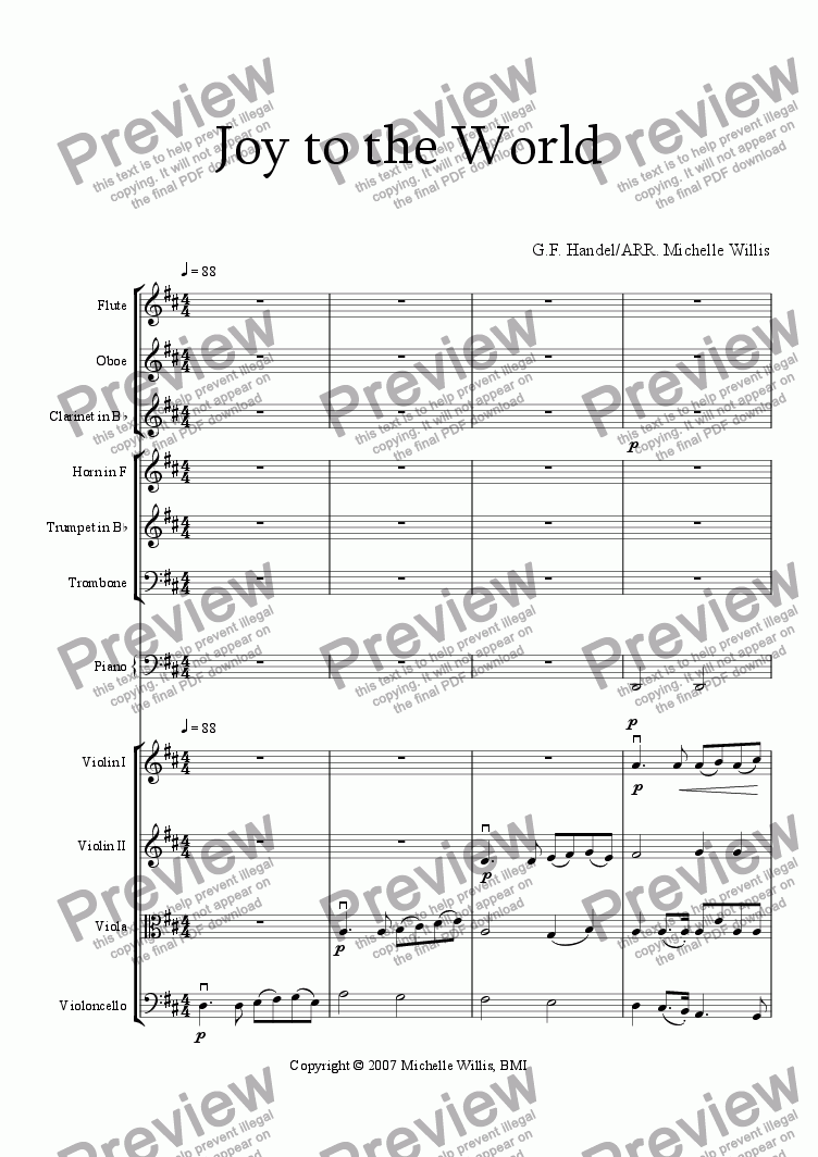 page one of Joy to the World-Full OrchestraASALTTEXT