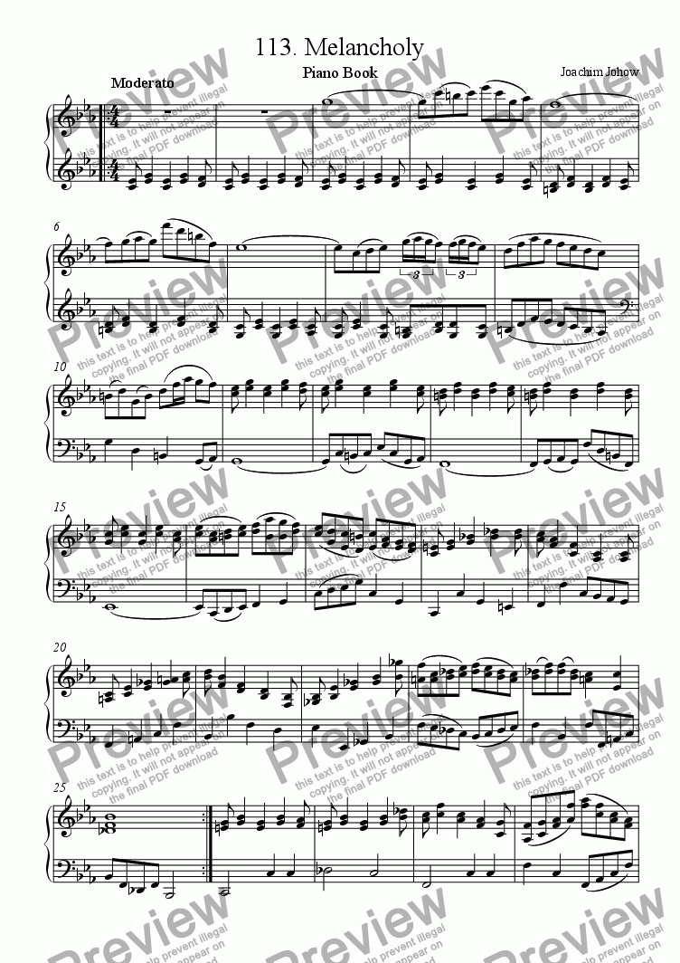 Piano Book 113 (Melancholy) for Solo instrument (Piano) by Joachim Johow -  Sheet Music PDF file to download
