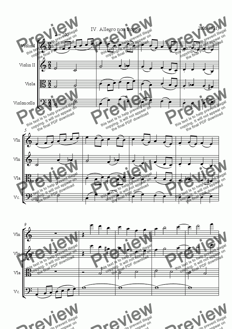 page one of String Quartet #2, movement 4ASALTTEXT