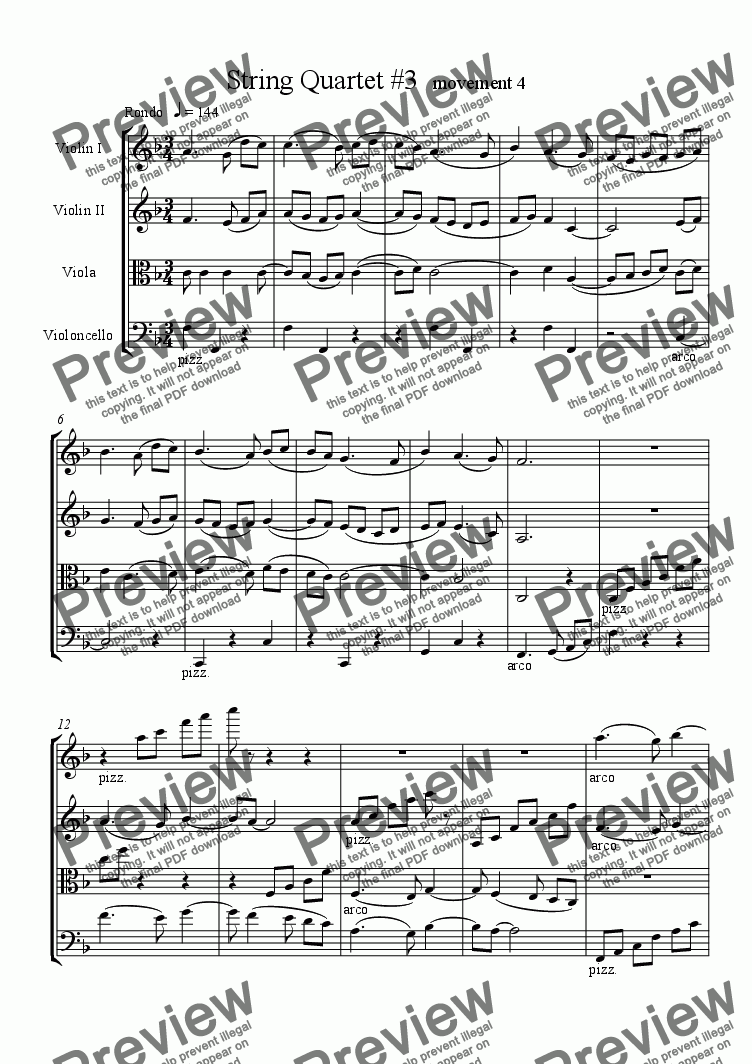 page one of String Quartet #3, movement 4
