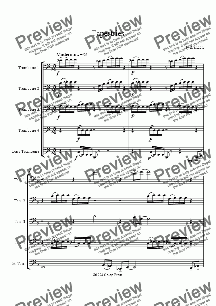 page one of Tapestries for Trombone Quintet