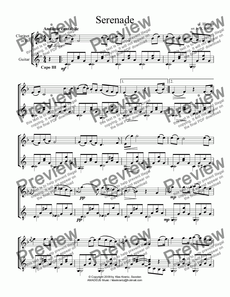 page one of Serenade for clarinet and guitar