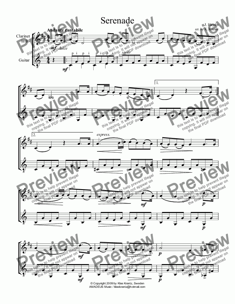 page one of Serenade (abridged) for clarinet and easy guitar