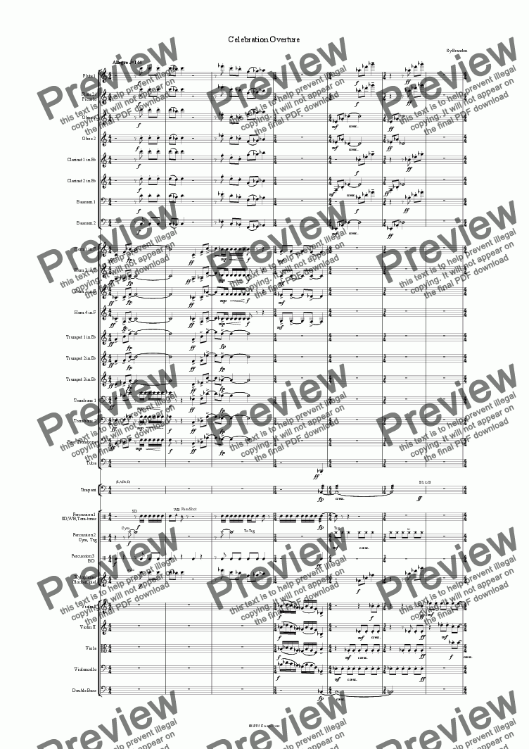 page one of Celebration Overture (Full Orchestra)
