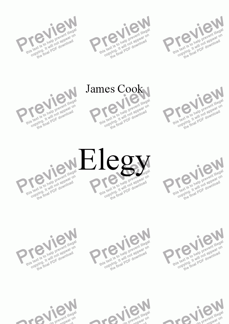 page one of Elegy