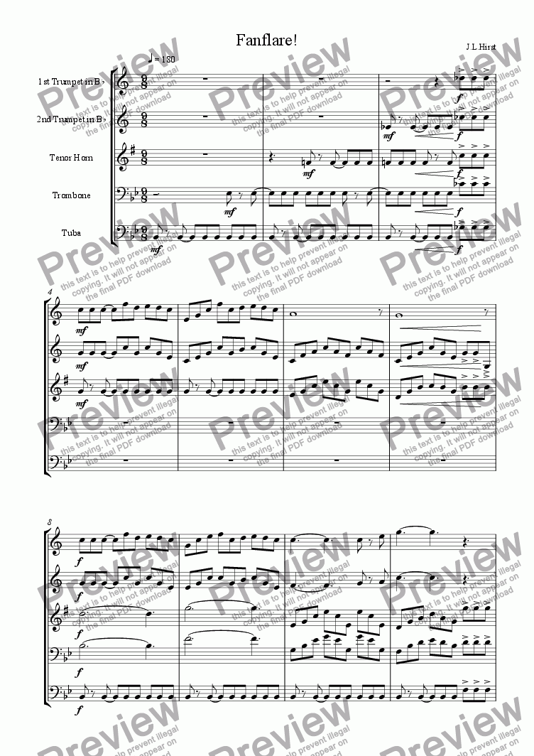 page one of Fanflare for Brass Quintet