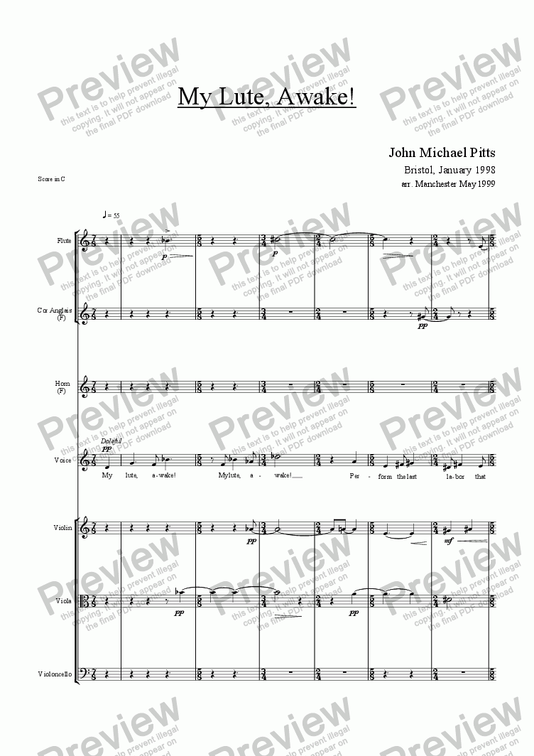 page one of My Lute, Awake!  (tenor & ensemble) [1998]ASALTTEXT