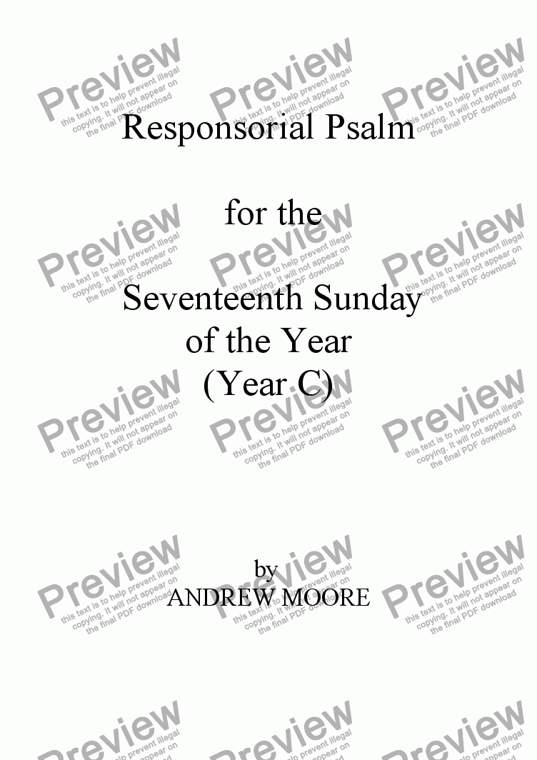page one of Seventeenth Sunday of the Year (C)