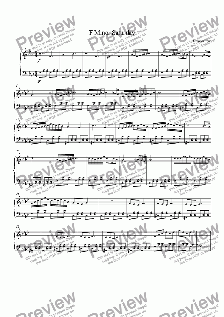 page one of F Minor Saturday