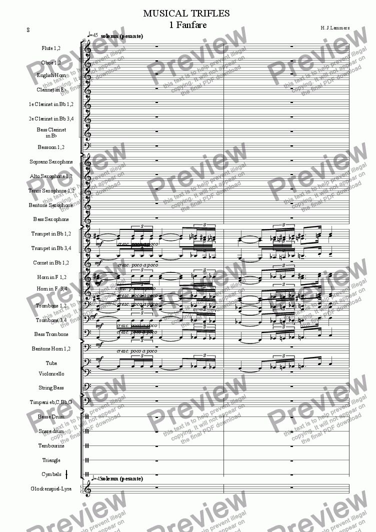 page one of Musical Trifles, concertband, 1 Fanfare1995