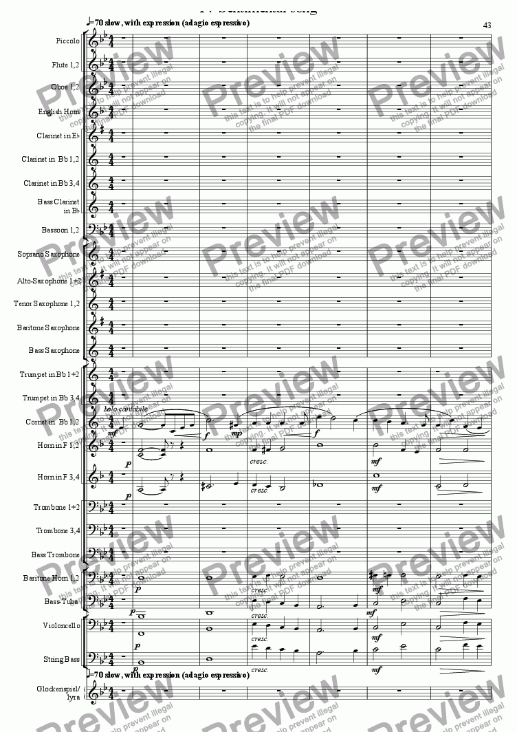 page one of Musical Trifles, concertband, 4 Sentimental song