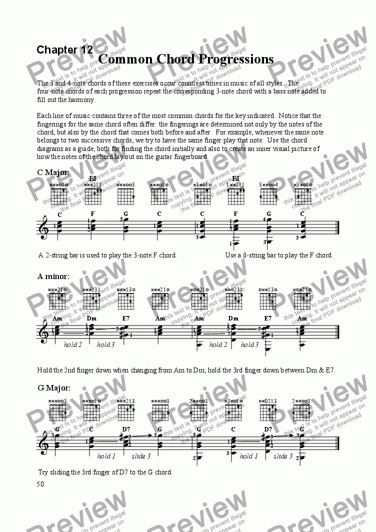 page one of Common Chord Progressions