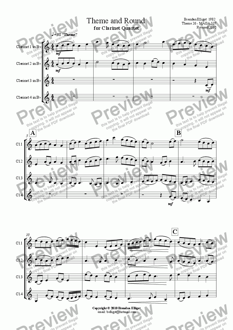 page one of Theme and Round for Clarinet QuartetASALTTEXT