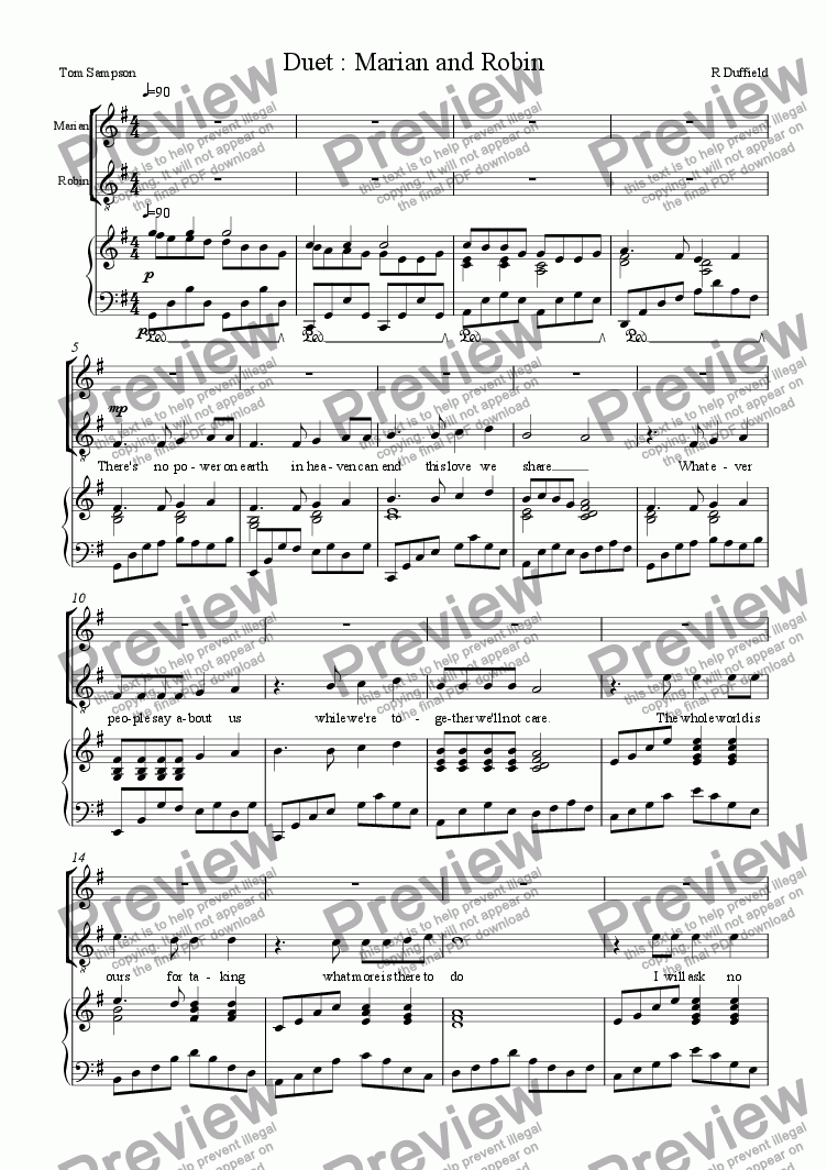 page one of Robin and Marian : Duet