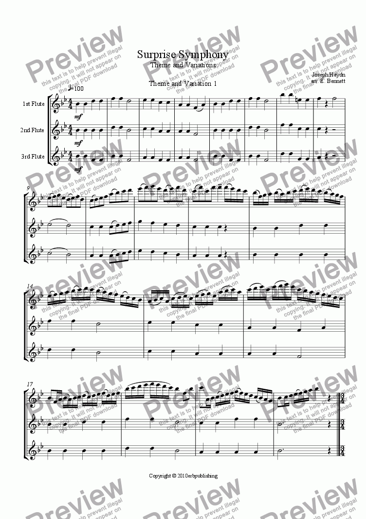 page one of Theme and Variations from the Surprise Symphony