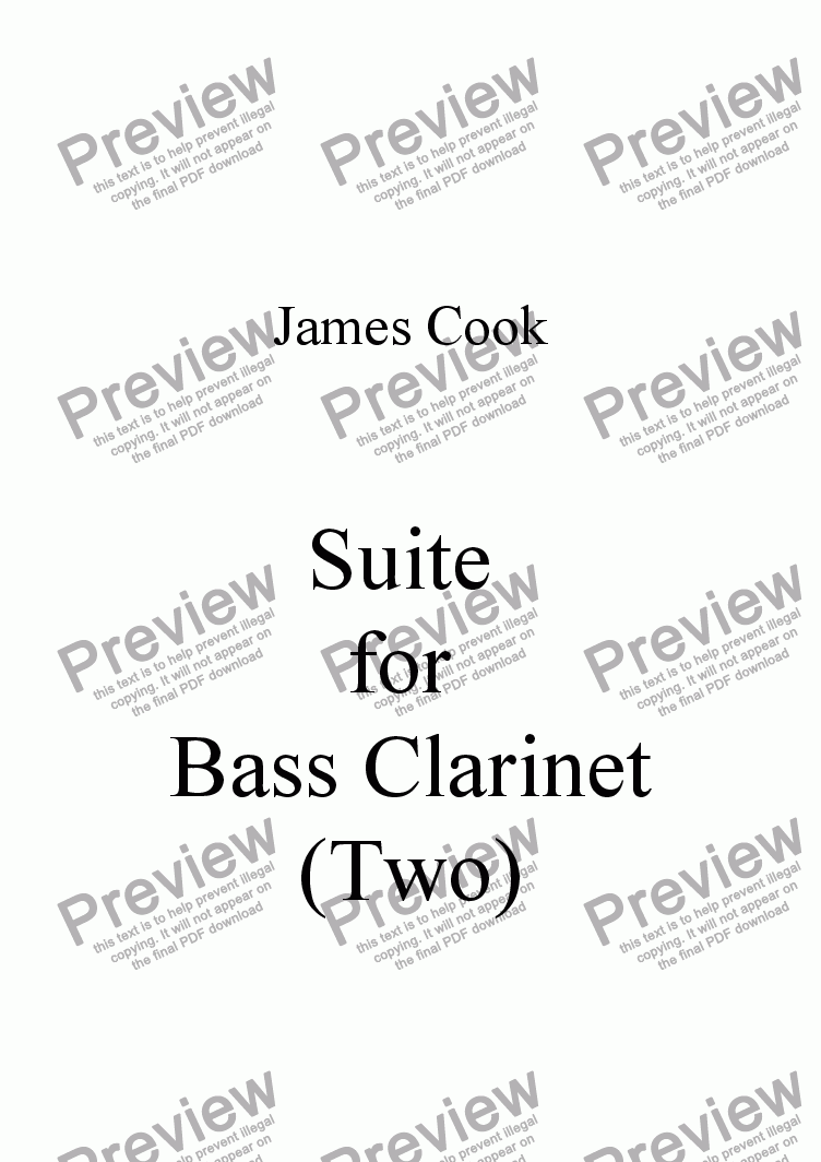 page one of Suite for Bass Clarinet (Two)