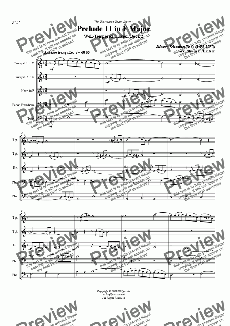 page one of Prelude 11, F major (WTC Bk 2) - Brass QUINTETASALTTEXT