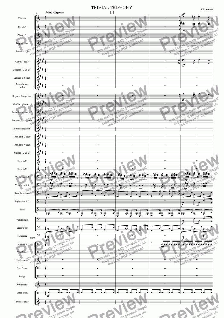 Trivial Triphony for concertband 3 for Concert band / wind band by H J  Lammers - Sheet Music PDF file to download