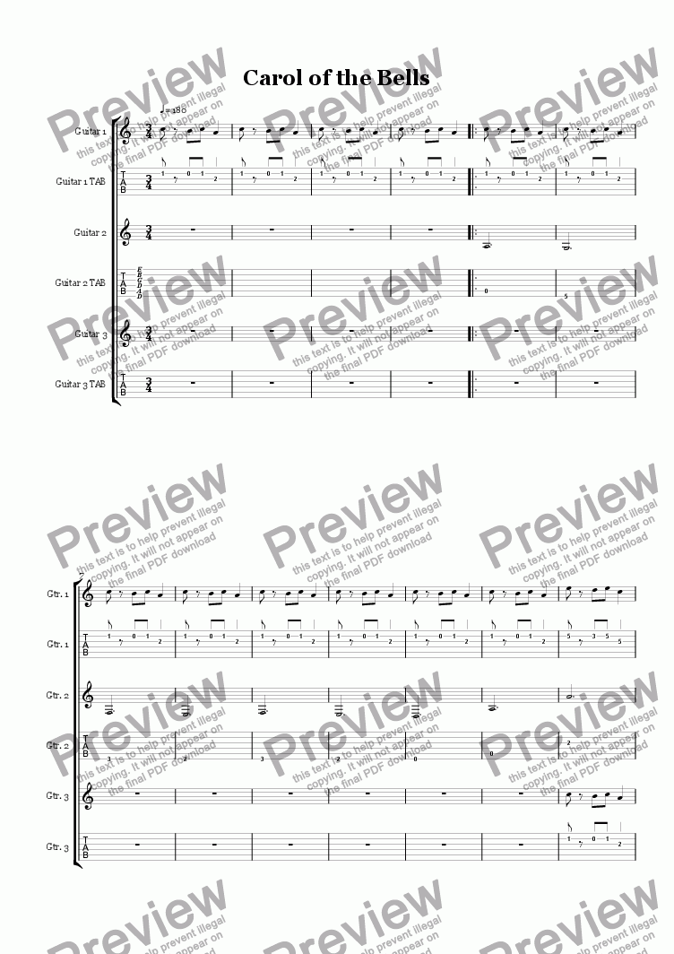 23200b4f8d81 Carol of the Bells, Guitar Ensemble - Download Sheet Music PDF file